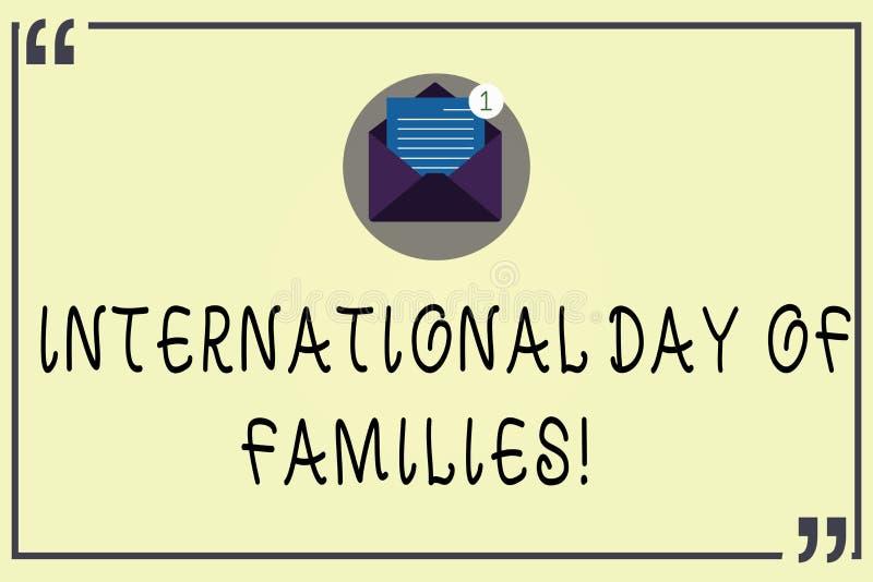 Escritura de la nota que muestra el día internacional de familias Celebración de exhibición de la unidad del tiempo de la familia libre illustration