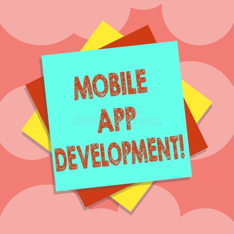 Escritura de la nota que muestra el desarrollo móvil del App Procedimientos de exhibición de la foto del negocio implicados en la stock de ilustración