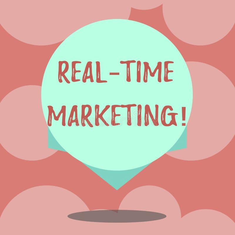 Escritura de la nota que muestra el márketing del tiempo real Foto del negocio que muestra creando una estrategia centrada en esp libre illustration