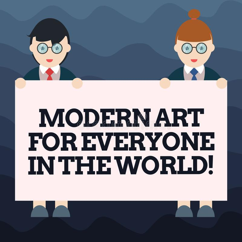 Escritura de la nota que muestra el mundo moderno de Art For Everyone In The Foto del negocio que muestra creatividad separada a  stock de ilustración