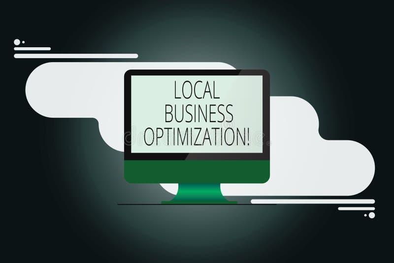 Escritura de la nota que muestra la optimización local del negocio Foto del negocio que muestra para promover productos y servici libre illustration