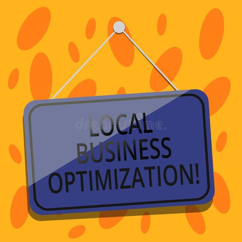 Escritura de la nota que muestra la optimización local del negocio Foto del negocio que muestra para promover productos y servici ilustración del vector