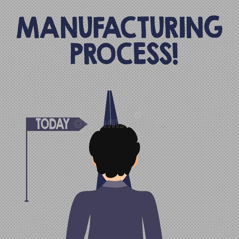 Escritura de la nota que muestra proceso de fabricación Pasos de exhibición de la foto del negocio que las materias primas camb ilustración del vector