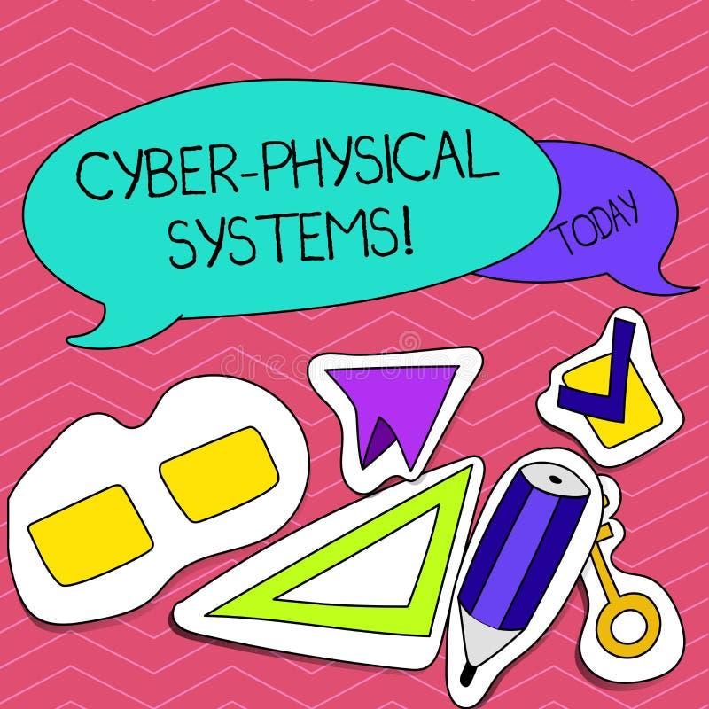 Escritura de la nota que muestra sistemas físicos cibernéticos Mecanismo de exhibición de la foto del negocio controlado por algo stock de ilustración