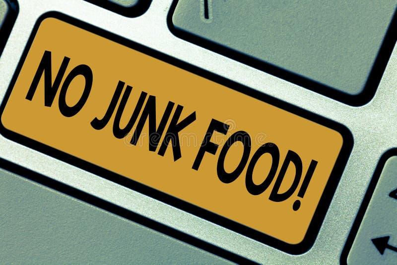 Escritura de la nota que no muestra ningún Junk Food Las cosas malsanas de exhibición de la consumición de la parada de la foto d ilustración del vector