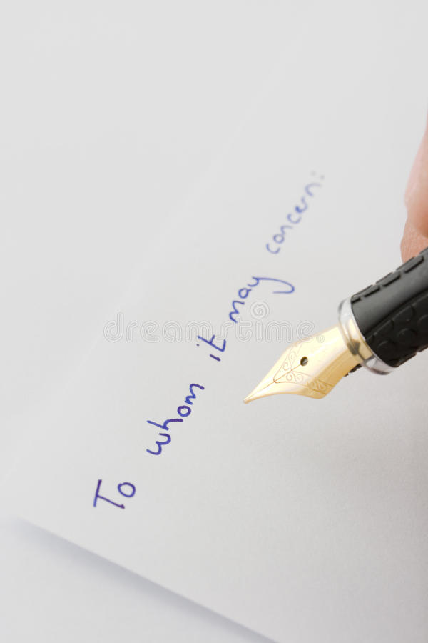 Escritura de la pluma a en cuestión imágenes de archivo libres de regalías