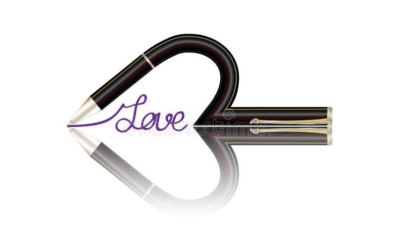 Escritura de la pluma de un amor de la palabra Bosquejo con goma roja Ilustración del vector ilustración del vector