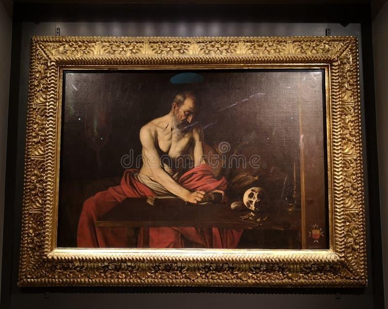 Escritura de St Jerome de Michelangelo Caravaggio adentro st John Co Cathedral, Malta imagen de archivo libre de regalías
