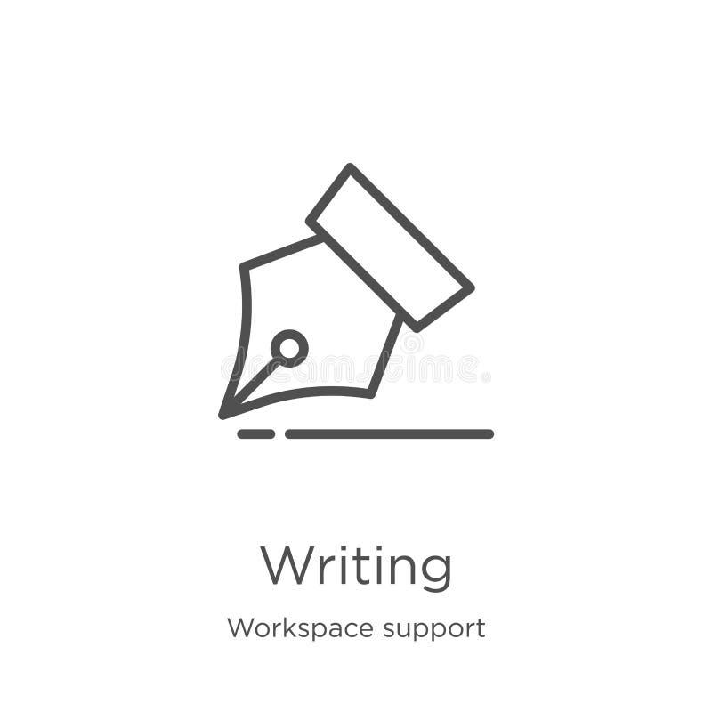 escritura de vector del icono de la colección de la ayuda del espacio de trabajo Línea fina ejemplo del vector del icono del esqu ilustración del vector