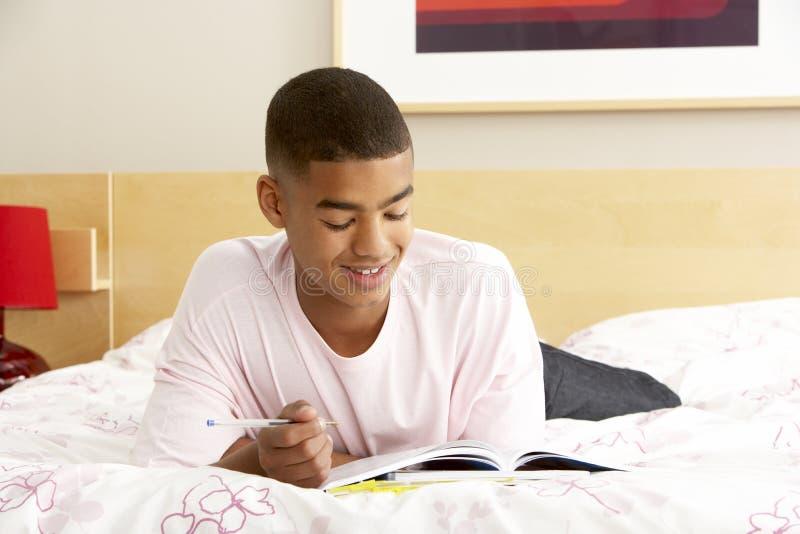Escritura del adolescente en diario en dormitorio fotos de archivo libres de regalías