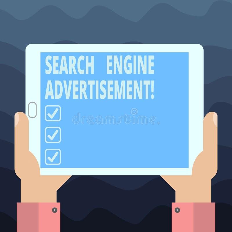 Escritura del anuncio del Search Engine de la demostración de la nota Foto del negocio que muestra colocando los anuncios en líne libre illustration