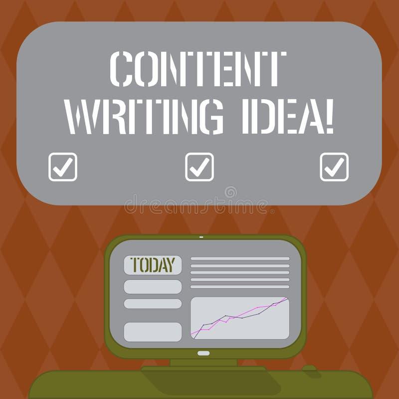 Escritura del contenido de la demostración de la nota que escribe idea Conceptos de exhibición de la foto del negocio en la escri ilustración del vector
