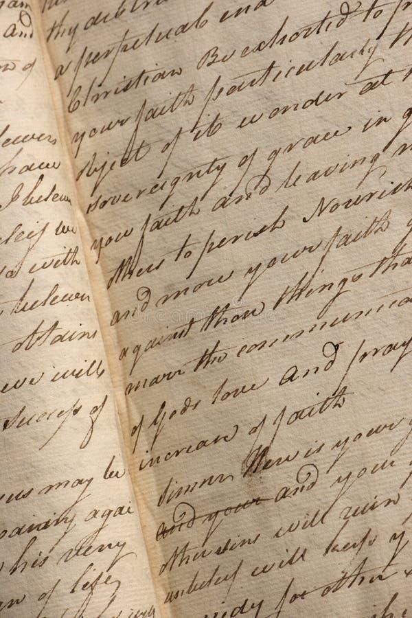 Escritura del Copperplate en cuaderno antiguo fotografía de archivo