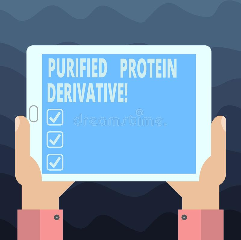 Escritura del derivado purificado demostración de la proteína de la nota Foto del negocio que muestra el extracto de análisis de  stock de ilustración