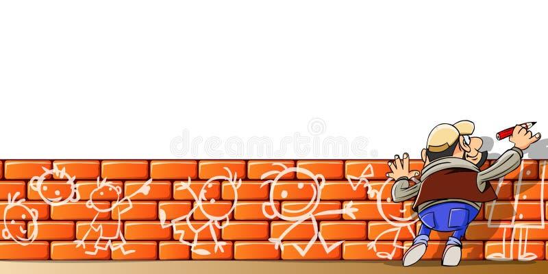 Escritura del hombre algo en la pared blanca libre illustration