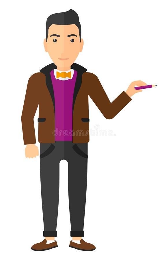 Escritura del hombre con el lápiz ilustración del vector