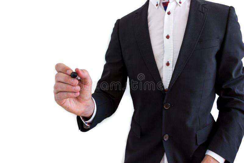 Escritura del hombre de negocios foto de archivo libre de regalías