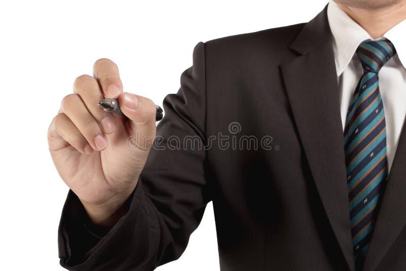 Escritura del hombre de negocios, dibujo en la pantalla fotografía de archivo