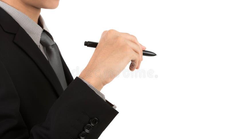 Escritura del hombre de negocios en espacio de la copia imagen de archivo