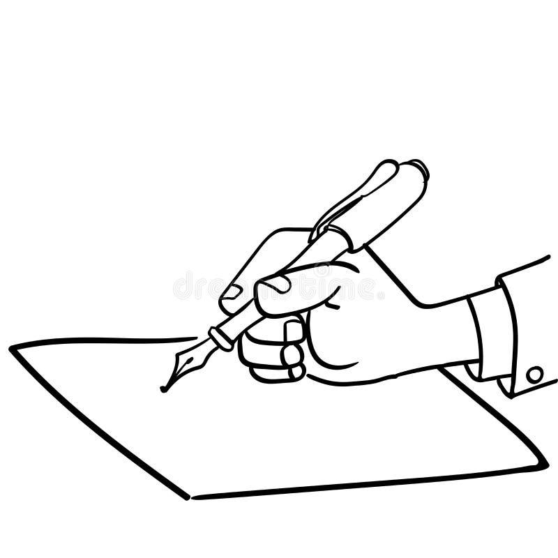 Escritura del hombre de negocios de la historieta con el pluma-vector dibujado ilustración del vector