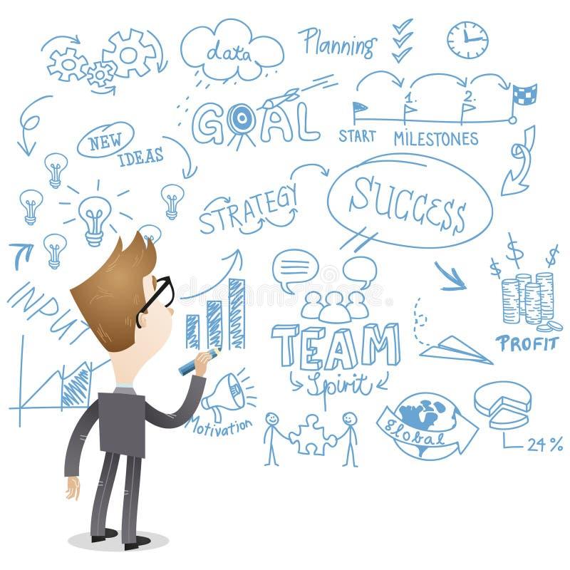 Escritura del hombre de negocios (visión trasera) en la pared ilustración del vector