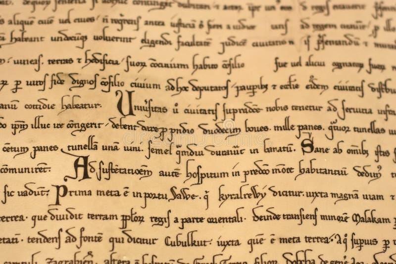 Escritura del latín medieval fotografía de archivo libre de regalías