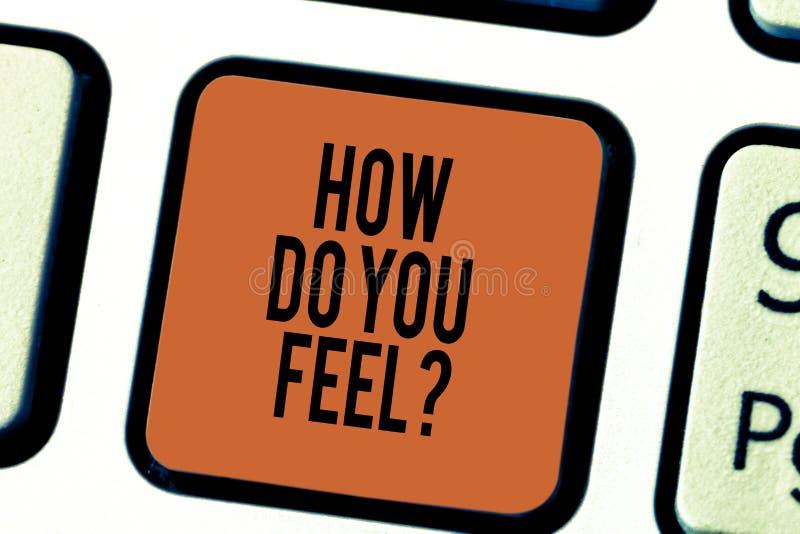 Escritura del texto de la escritura cómo hágale Feelquestion El significado del concepto nos dice sus sensaciones y emociones dem imágenes de archivo libres de regalías