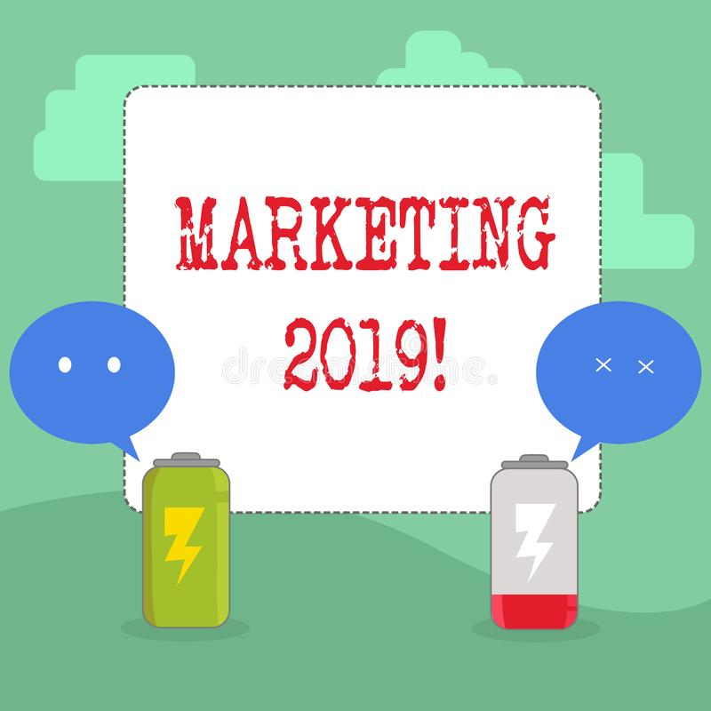 Escritura del texto de la escritura que comercializa 2019 Nuevo comienzo de las estrategias del mercado del Año Nuevo del signifi libre illustration