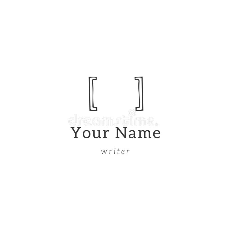 Escritura, derechos reservados y tema de publicación Paréntesis, plantilla exhausta del logotipo de la mano del vector libre illustration