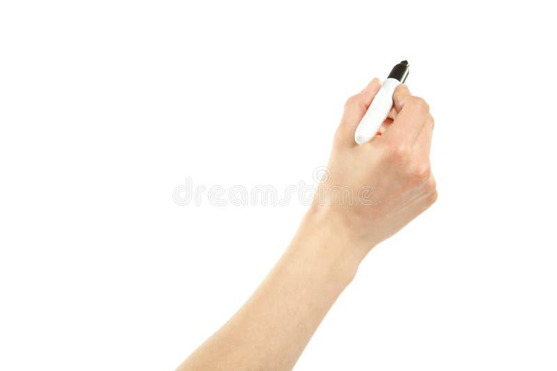 Escritura femenina de la mano con la etiqueta de plástico imagen de archivo libre de regalías