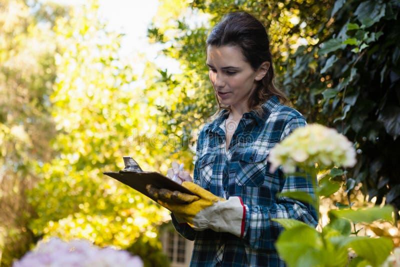 Escritura femenina del jardinero en el tablero por las flores imágenes de archivo libres de regalías