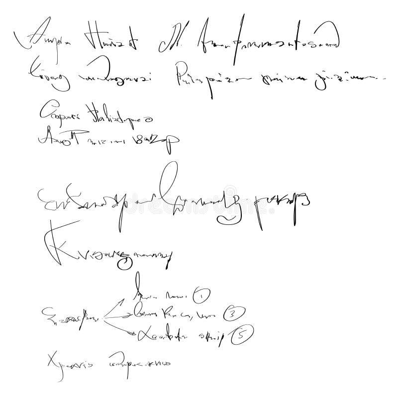 Escritura ilegible del vector Fondo blanco y negro de la escritura Bosquejo de la plantilla de la caligrafía de la escritura stock de ilustración