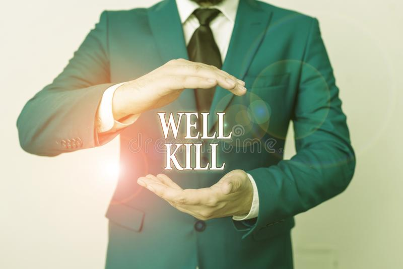 Escritura a mano conceptual que muestra Well Kill Foto comercial mostrando la operación de colocar una columna de líquido pesado  foto de archivo libre de regalías