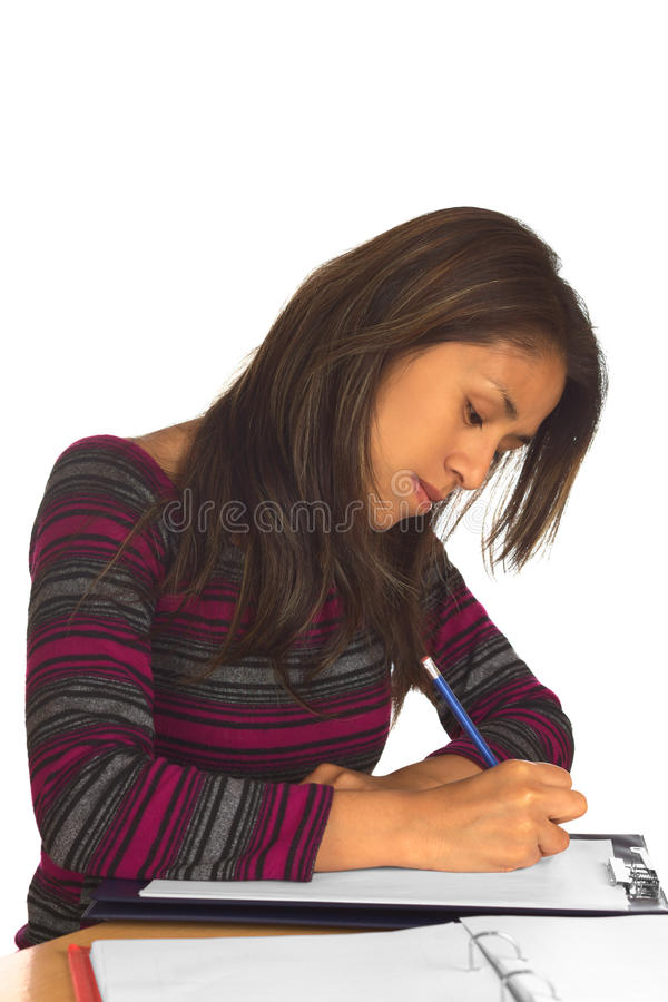 Escritura peruana joven de la mujer imagen de archivo