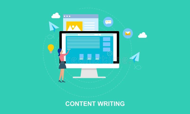 Escritura plana del contenido del diseño, ejemplo que bloguea stock de ilustración