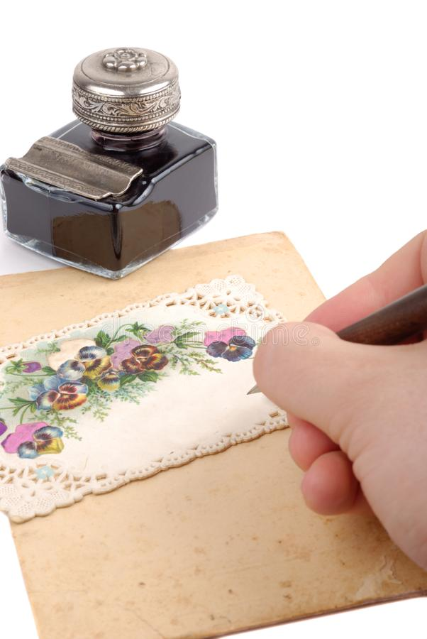 Escritura Postacard foto de archivo