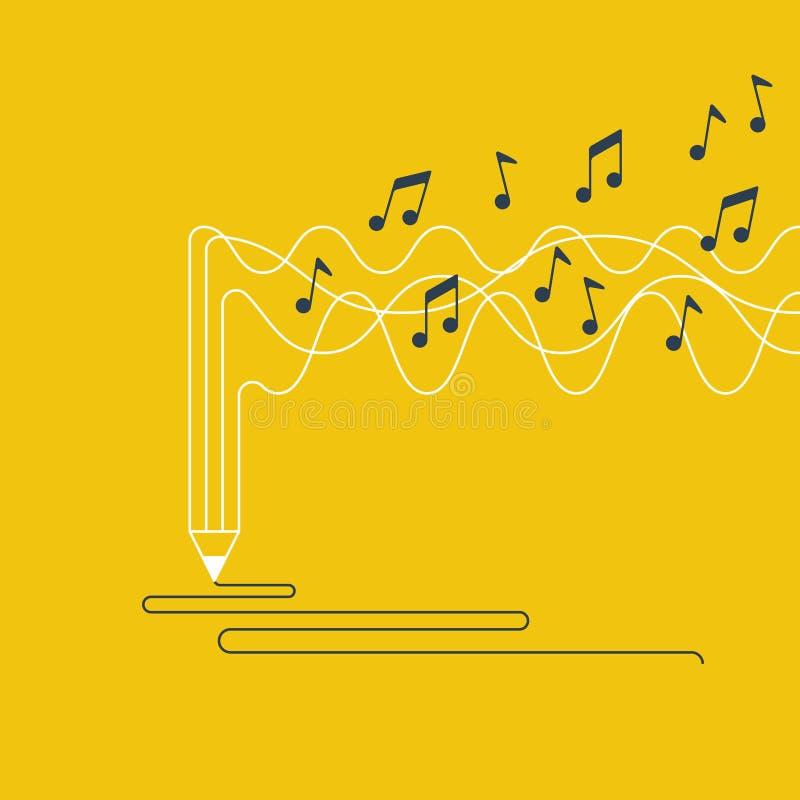 Escritura y narración creativas, concepto de la creación de la música stock de ilustración