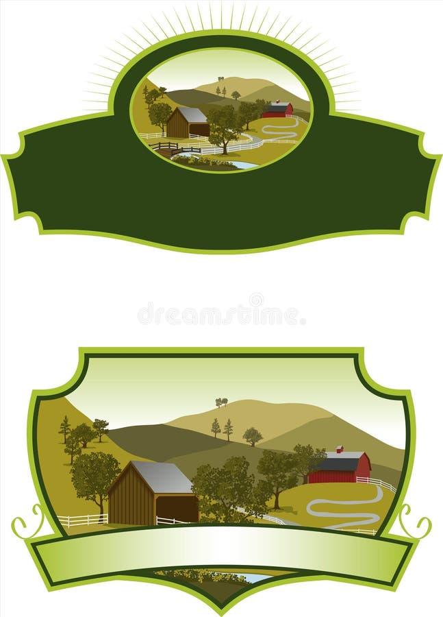 Escrituras de la etiqueta americanas de la escena de la granja ilustración del vector