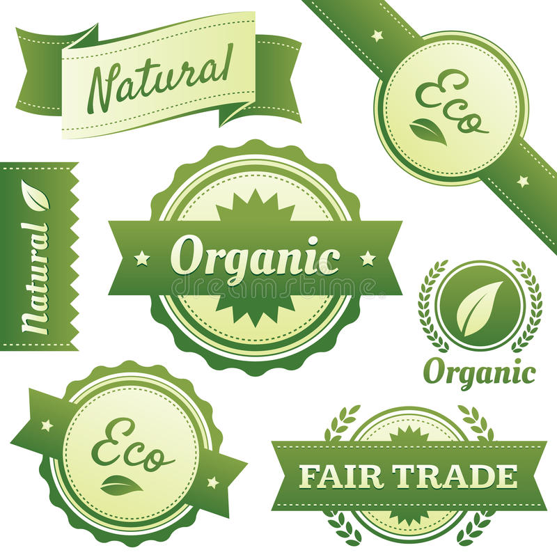 Escrituras de la etiqueta con estilo para natural, orgánicas, Eco, comercio justo libre illustration