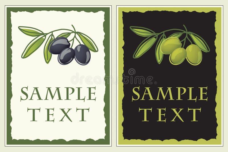 Escrituras de la etiqueta con las aceitunas negras y verdes libre illustration