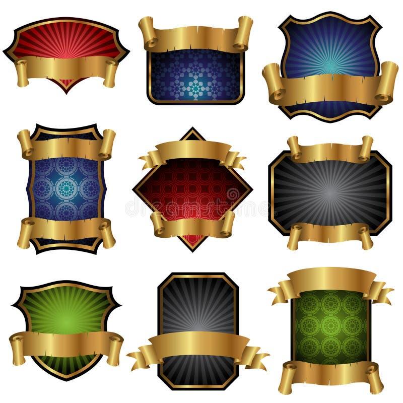 Escrituras de la etiqueta con las banderas de oro ilustración del vector