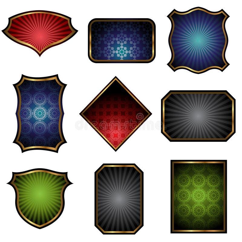 Escrituras de la etiqueta con los marcos de oro ilustración del vector