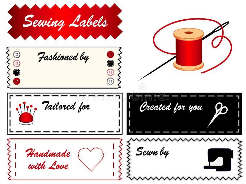 Escrituras de la etiqueta de costura stock de ilustración