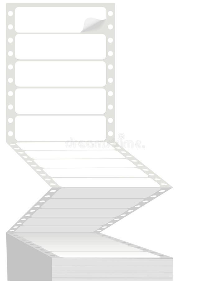 Escrituras de la etiqueta de direccionamiento de alimentación a pernos del listado de computadora de la impresora del ordenador libre illustration