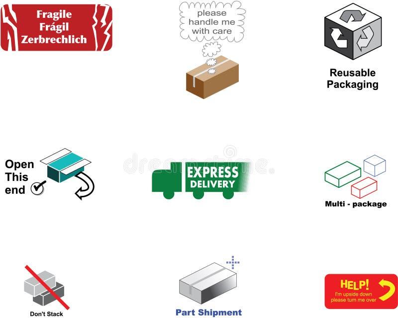 Escrituras de la etiqueta de empaquetado imagen de archivo