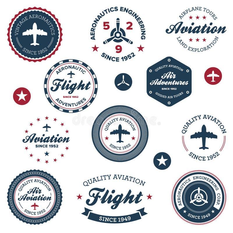 Escrituras de la etiqueta de la aeronáutica de la vendimia stock de ilustración