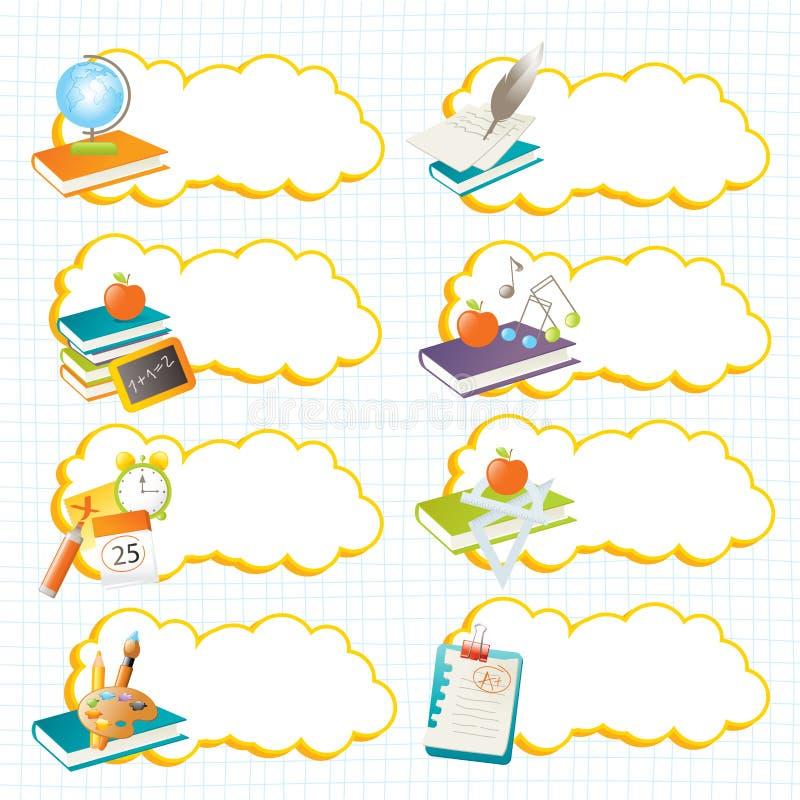 Escrituras de la etiqueta de la escuela stock de ilustración