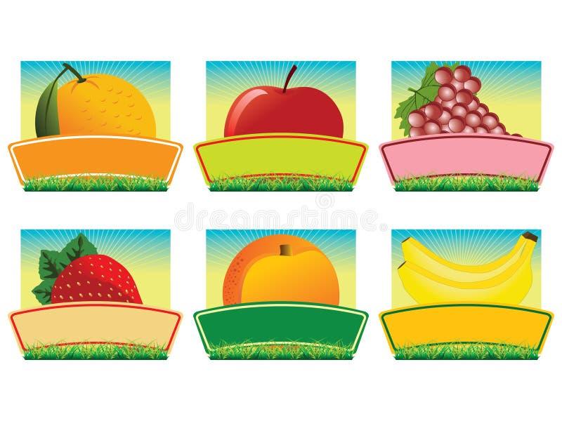 Escrituras de la etiqueta de la fruta   stock de ilustración