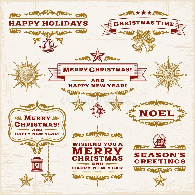 Escrituras de la etiqueta de la Navidad del vintage ilustración del vector