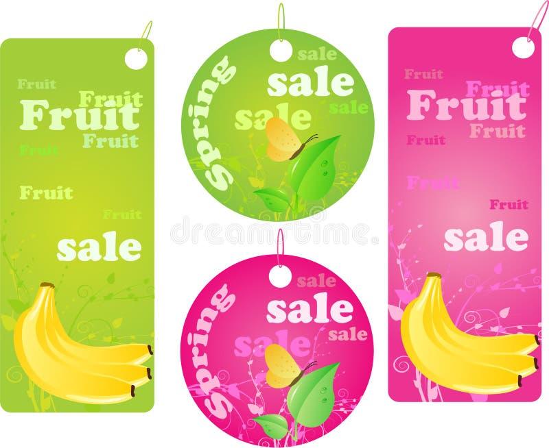 Escrituras de la etiqueta de las compras de la venta - venta del resorte y de la fruta libre illustration